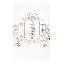 Owl and Hawk Redwood Crown Crest Drawing Stationery