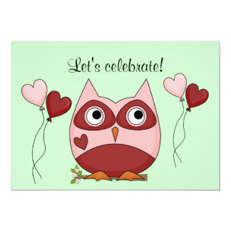 Owl and Heart Balloons Celebration Card