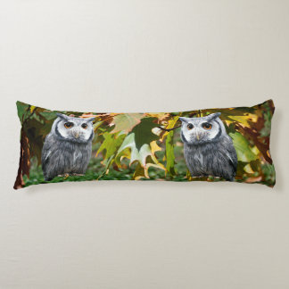 Owl and Leaves Body Pillow