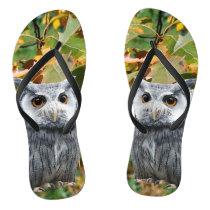 Owl and Leaves Flip Flops