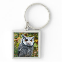Owl and Leaves Keychain