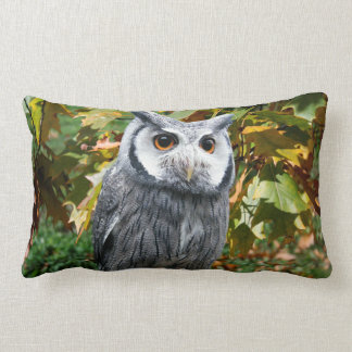 Owl and Leaves Lumbar Pillow
