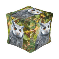 Owl and Leaves Pouf