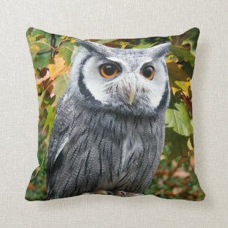 Owl and Leaves Throw Pillow