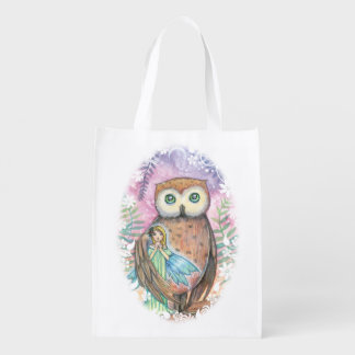 Owl and Little Fairy Fantasy Illustration Reusable Grocery Bag