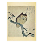 Owl and magnolia Ukiyoe Postcard