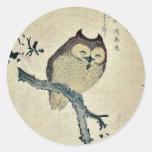 Owl and magnolia Ukiyoe Round Stickers