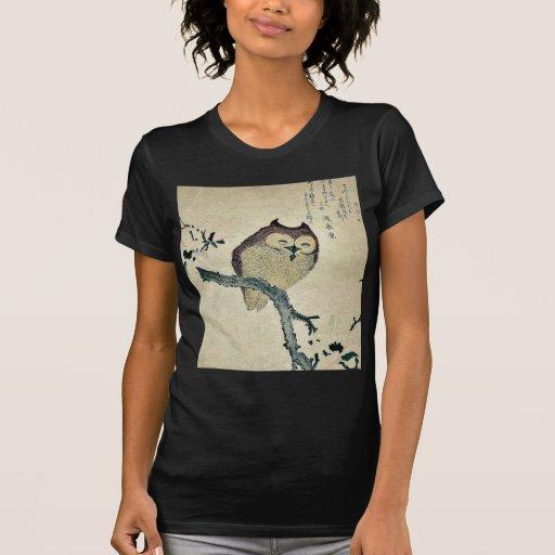 Owl and magnolia Ukiyoe T Shirt