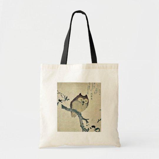 Owl and magnolia Ukiyoe Tote Bag