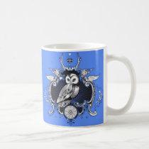 Owl and mirror coffee mug