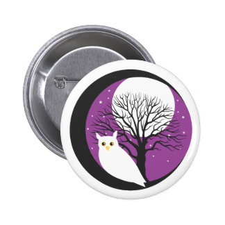 OWL AND MOON 2 INCH ROUND BUTTON