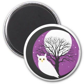 OWL AND MOON 2 INCH ROUND MAGNET