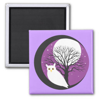 OWL AND MOON 2 INCH SQUARE MAGNET