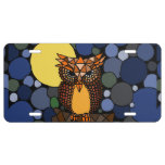 Owl and Moon Abstract Art License Plate License Plate