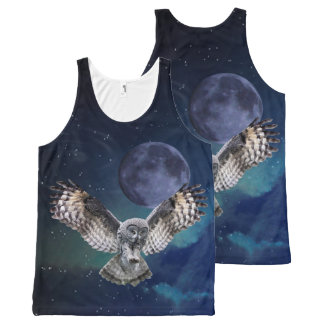 Owl and Moon All-Over Printed Tank Top All-Over Print Tank Top