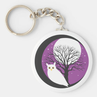 OWL AND MOON BASIC ROUND BUTTON KEYCHAIN