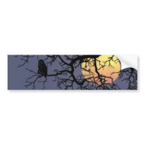 Owl and Moon Bumper Sticker