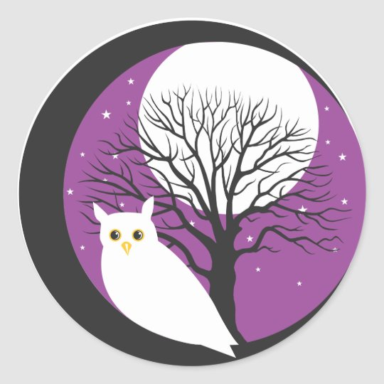OWL AND MOON CLASSIC ROUND STICKER