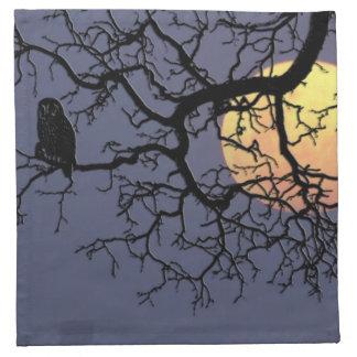 Owl and Moon Cloth Napkins