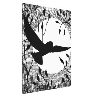 Owl and Moon Cross Hatched Canvas Print