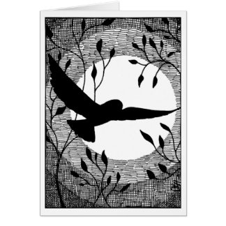 Owl and Moon Cross Hatched Card