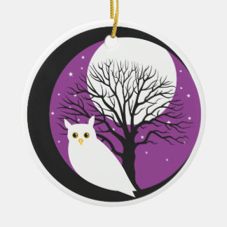 OWL AND MOON Double-Sided CERAMIC ROUND CHRISTMAS ORNAMENT