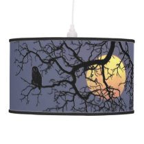 Owl and Moon Pendant Lamp
