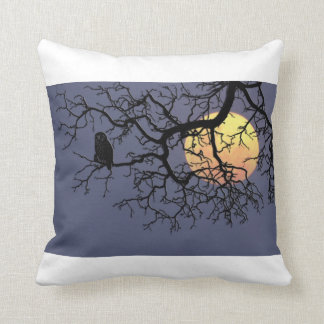 """Owl and Moon Polyester Throw Pillow 16"""" x 16"""