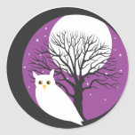 OWL AND MOON ROUND STICKER