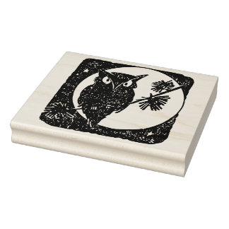 Owl and moon silhouette art stamp