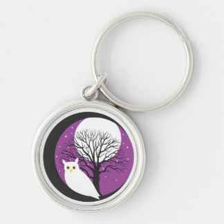 OWL AND MOON Silver-Colored ROUND KEYCHAIN