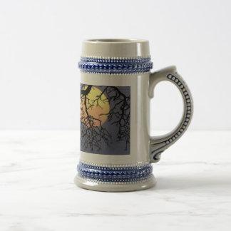 Owl and Moon Stein Mug