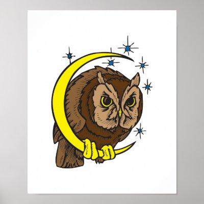 moon tattoo designs. Owl and Moon Tattoo Design