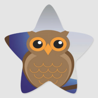 owl and moonlight peace calm joy star sticker