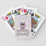 Owl and Morning Glory Flowers Playing Cards