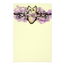 Owl and music bars stationery