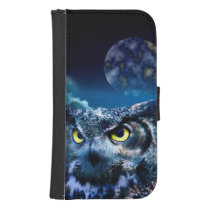 Owl and Night Sky Samsung S4 Wallet Case