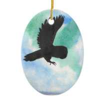 Owl And Northern Lights Ceramic Ornament