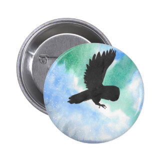 Owl And Northern Lights Pinback Button