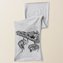 Owl and Opossum Black and White Illustrations Scarf
