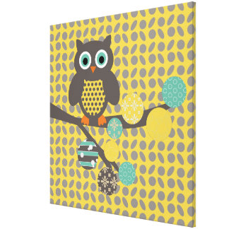 Owl and Orbs on Gray and Yellow Wrapped Canvas
