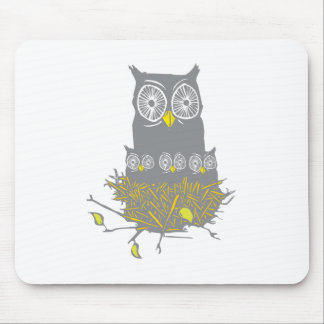Owl and Owl Chicks Mouse Pad