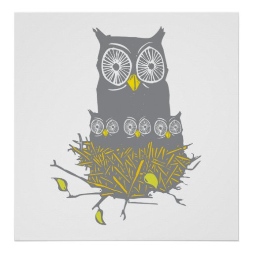 Owl and Owl Chicks Poster