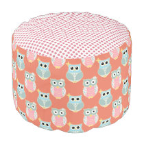 Owl and Pink Polka Dotted Pouf