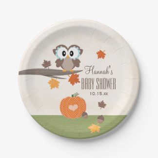 Owl and Pumpkin Fall Baby Shower Paper Plate
