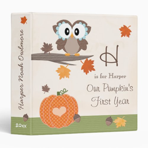 Owl and Pumpkin Fall Babys First Year Album 3 Ring Binder