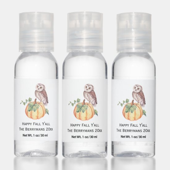 Owl and Pumpkin Happy Fall Y'all Party Favors Hand Sanitizer