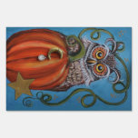 Owl and Pumpkin Painting Lawn Sign