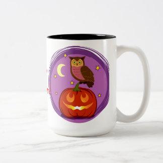 Owl and pumpkin Two-Tone coffee mug