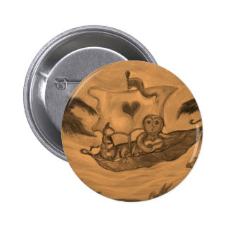 Owl and Pussy Cat boat Ride 2 Inch Round Button
